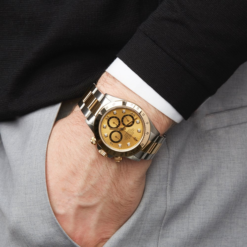 Rolex Daytona Zenith Inverted 6 Diamond Chronograph Stainless Steel & Yellow Gold 16523