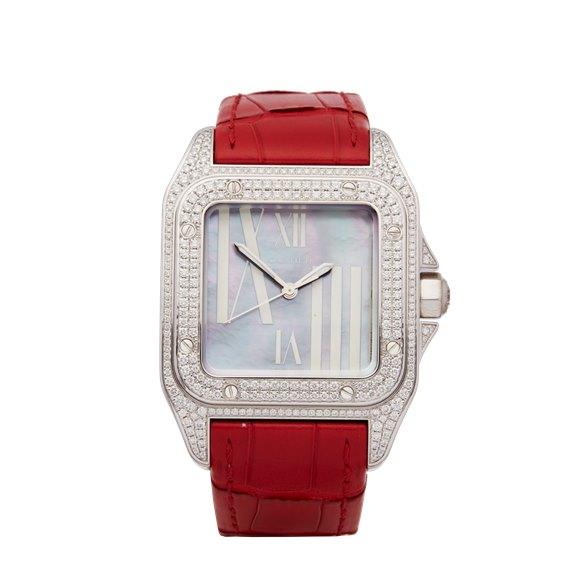 Cartier Santos 100 Mother of Pearl Diamond 18k White Gold - WM503251 or 2881