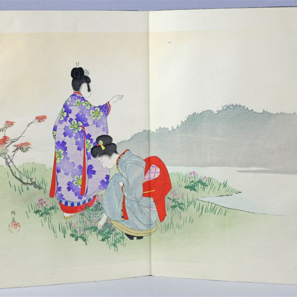 Exceptional Cloth Bound Japanese Collection Of Watercolour Images Early 20th C.