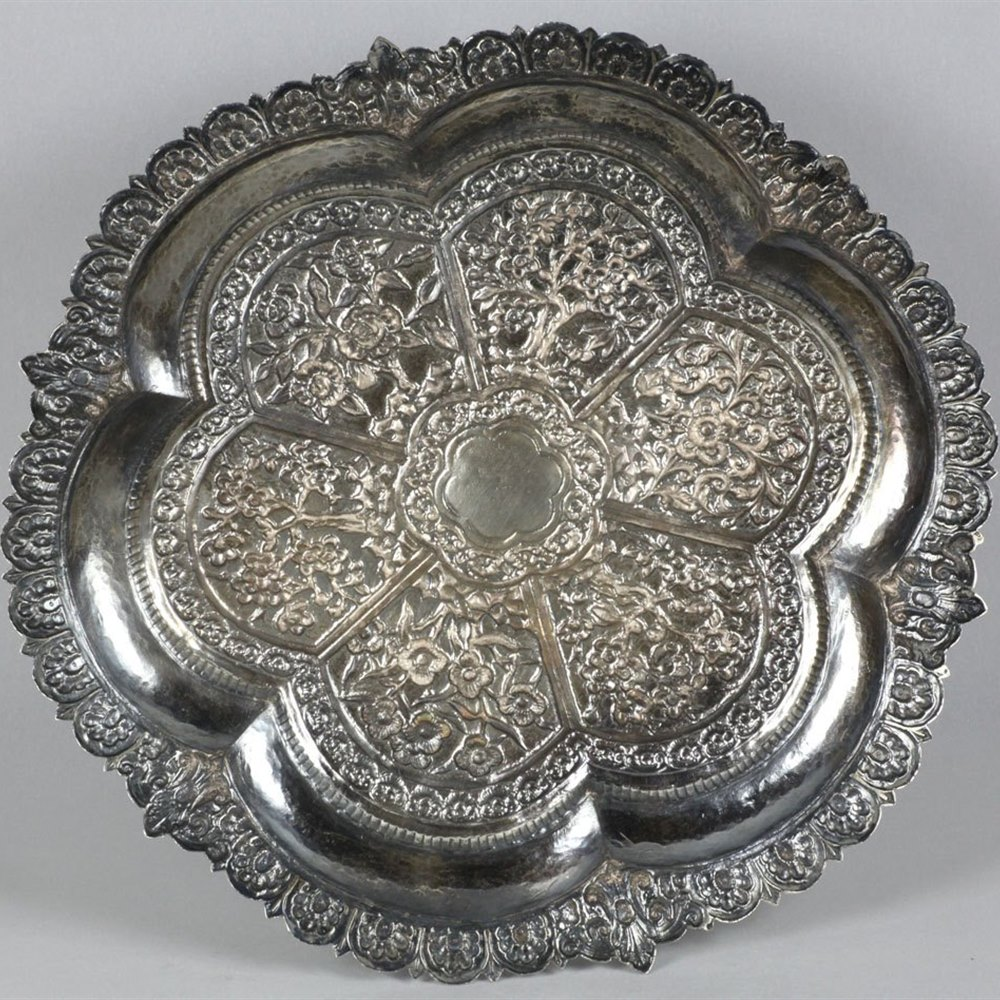 INDO-CHINESE SILVER SALVER WITH FLORAL PANELS Circa 1850
