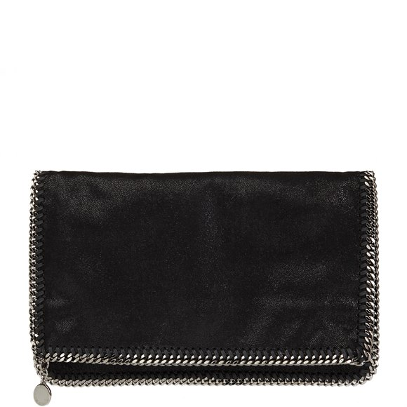 Stella Mccartney Black Shaggy Deer Artificial Leather Falabella Foldover Clutch