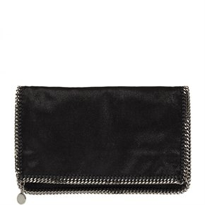 Stella Mccartney Black Shaggy Deer Artificial Leather Falabella Foldover Clutch