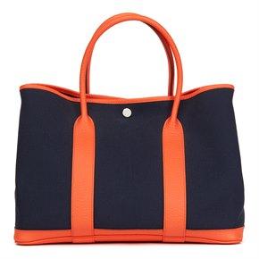 Hermès Orange Poppy Negonda Leather & Blue Marine Canvas Garden Party 36cm