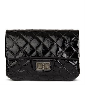Chanel Black Quilted Aged Patent Leather 2.55 Reissue Clutch