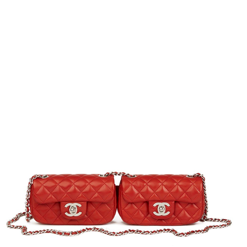 dc978d122d1953 Chanel Red Quilted Lambskin Double Mini Flap Bag. Chanel Double Mini Flap  Bag 2016 Hb2470 Second Hand Handbags