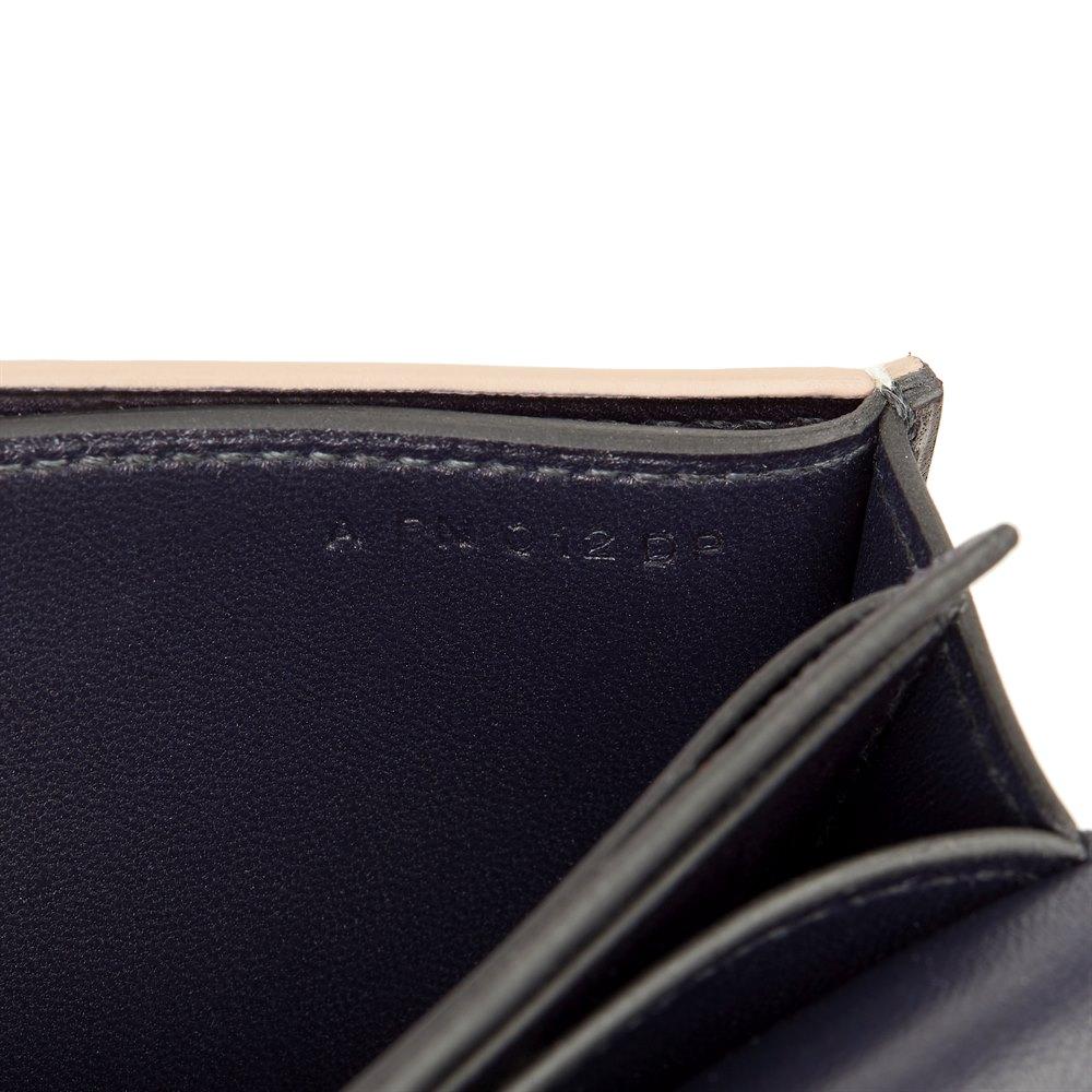 Hermès Bleu Indigo Evergrain Leather & Natural Lez Lisse Lizard Portefeuille Passant Long