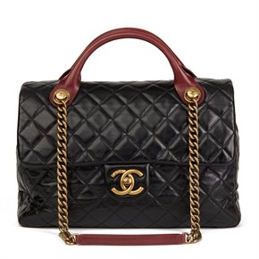 Chanel Bordeaux & Black Quilted Calfskin Leather Large Castle Rock