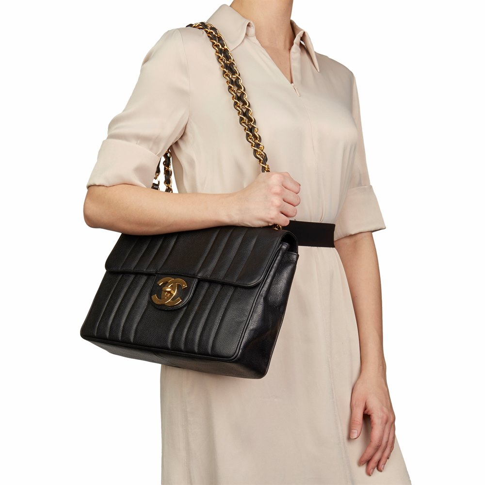 ce78b6e3bd4e68 Chanel Black Vertical Quilted Caviar Leather Vintage Jumbo XL Flap Bag