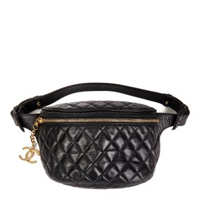 Chanel Black Quilted Lambskin Vintage Timeless Belt Pouch