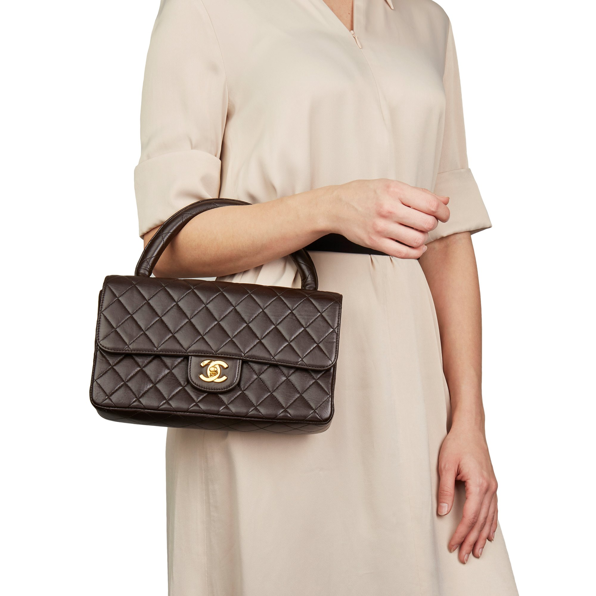 Chanel Chocolate Brown Quilted Lambskin Vintage Medium Classic Kelly Flap Bag