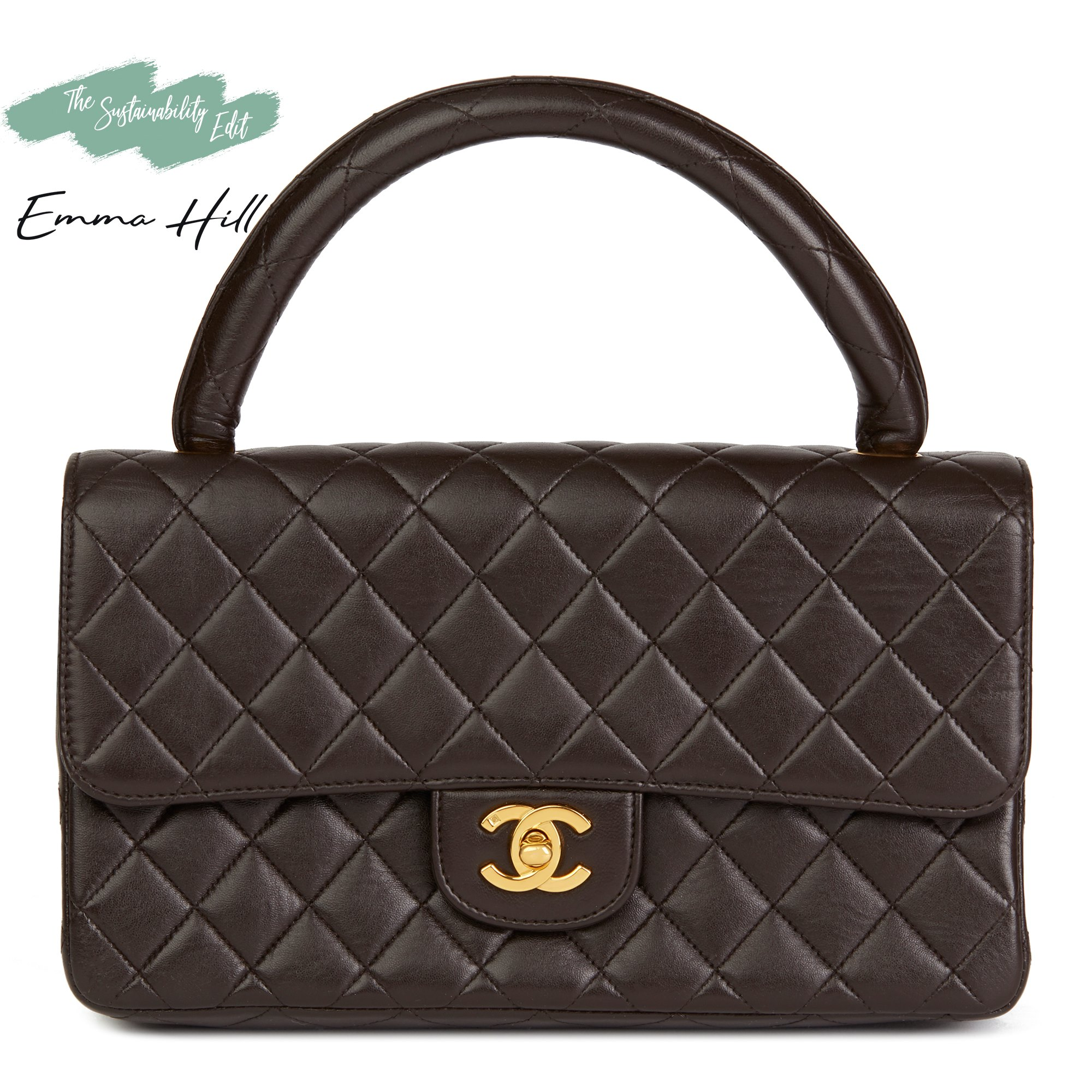 98ffab431197 Chanel Chocolate Brown Quilted Lambskin Vintage Medium Classic Kelly Flap  Bag