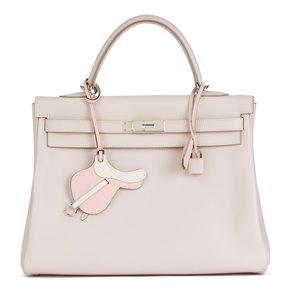Hermès Rose Dragee Swift Leather Kelly 35cm Retourne