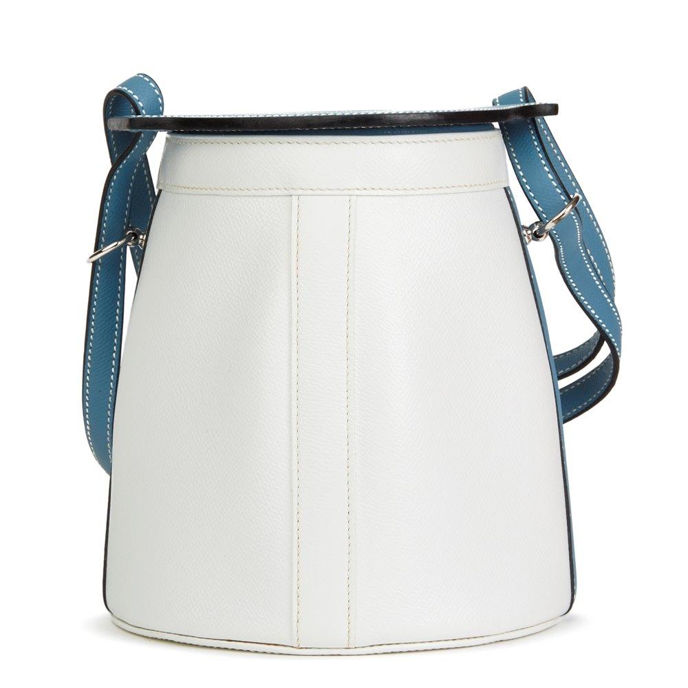Hermès Blue Jean & White Epsom Leather Farming Bucket Bag