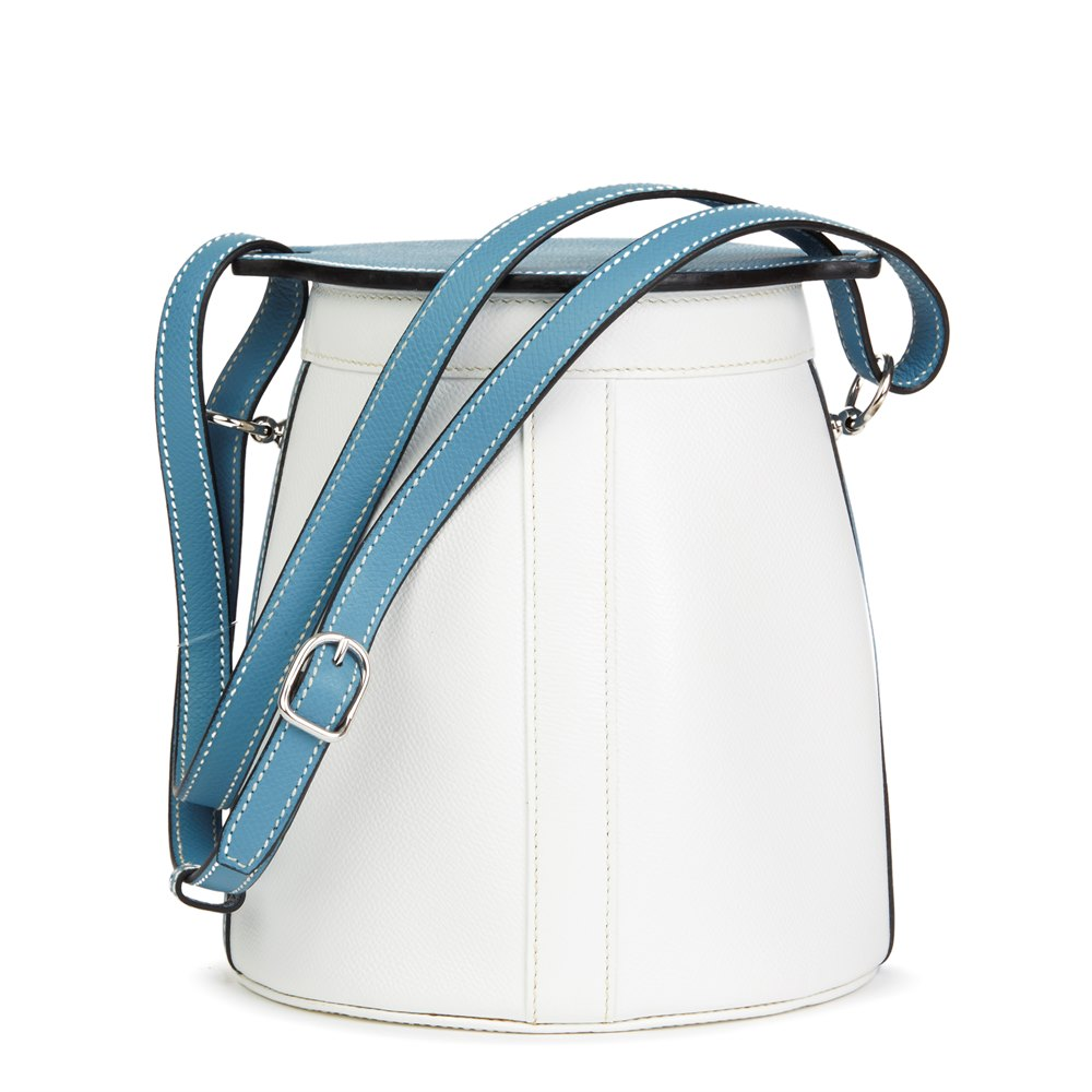 Hermès Blue Jean & White Epsom Leather Farming Bucket Bag