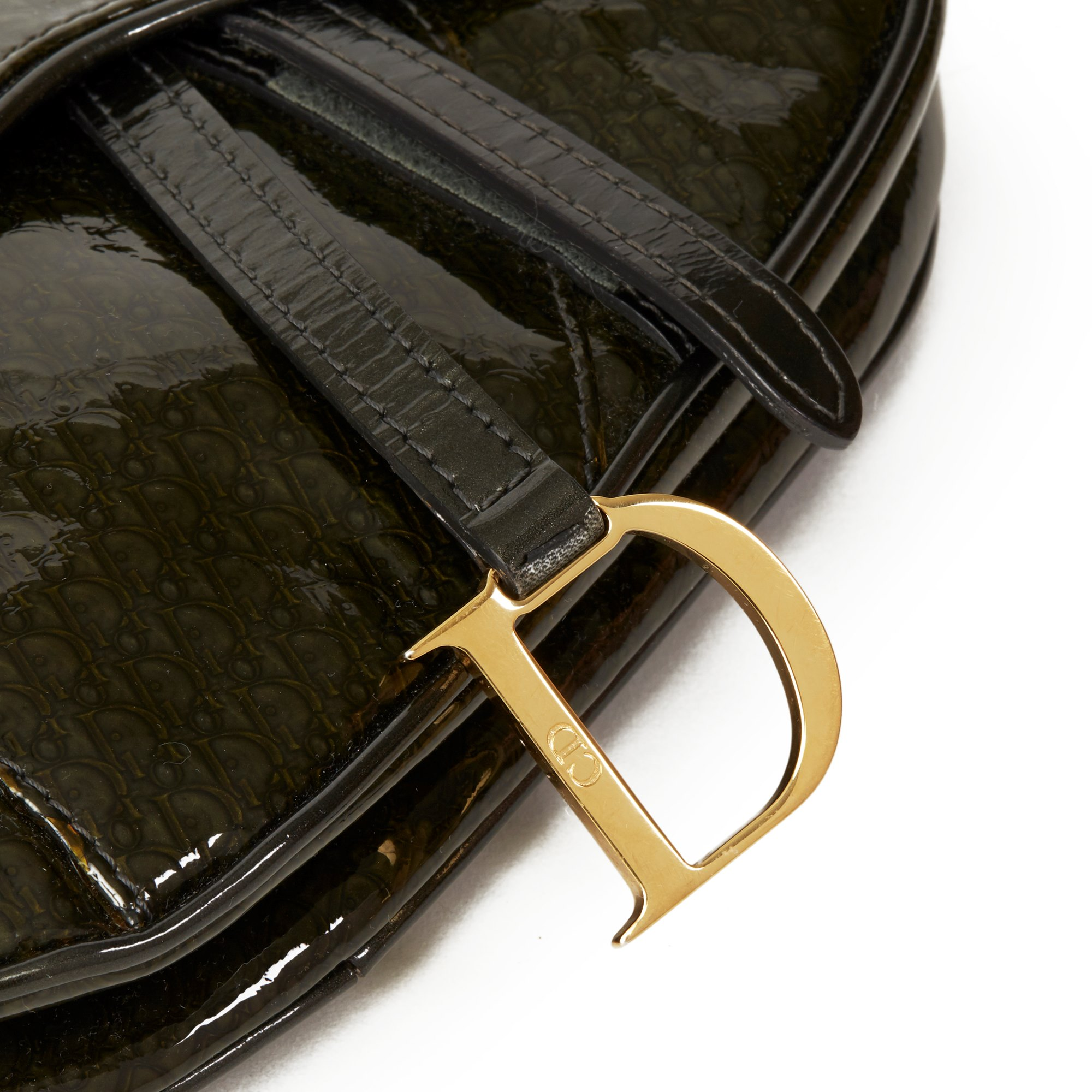 Christian Dior Olive Green Monogram Patent Leather Vintage Mini Saddle Bag