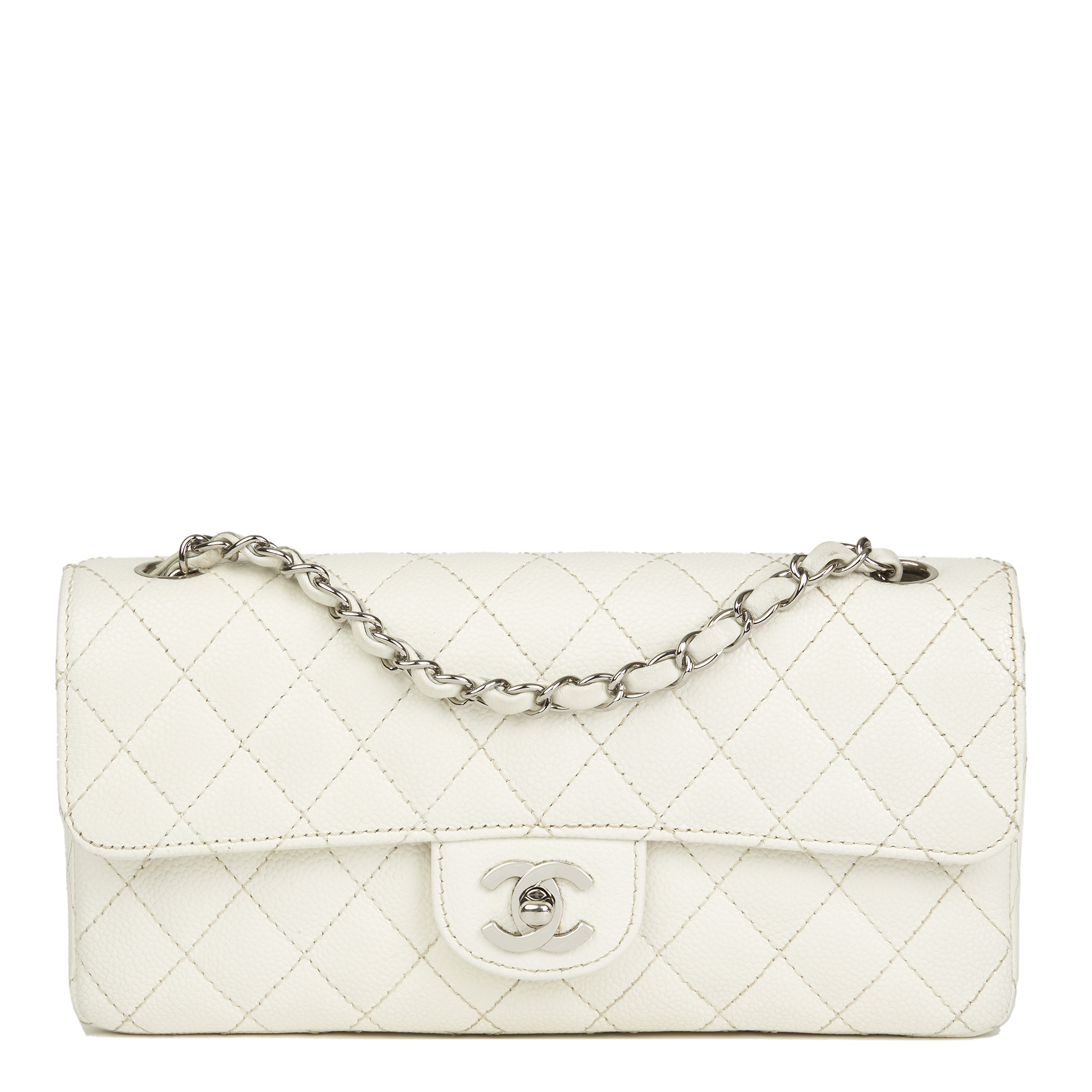 8973af76f4f6 Chanel White Quilted Caviar Leather East West Classic Single Flap Bag