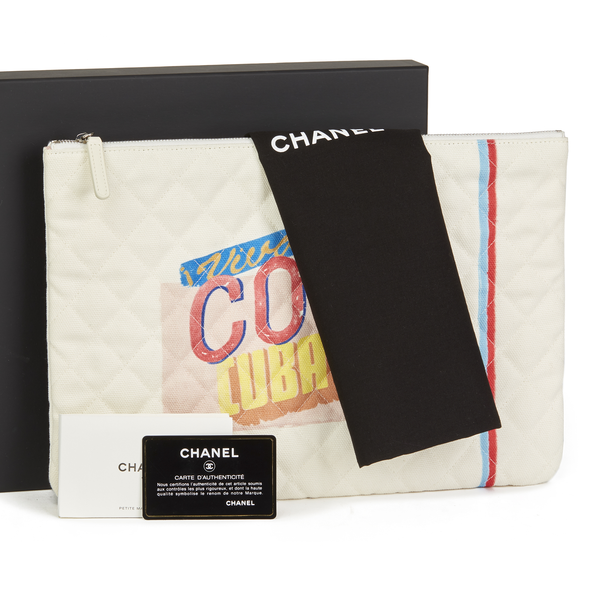 27401ada0553 CHANEL WHITE QUILTED CANVAS 'COCO CUBA' LARGE COSMETIC CASE HB2490 ...