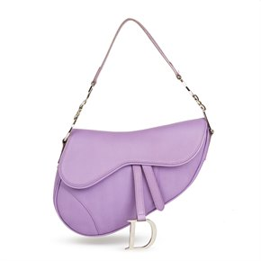 Christian Dior Lilac Calfskin Leather Saddle Bag