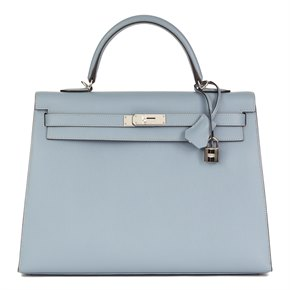 Hermès Blue Lin Epsom Leather Kelly 35cm Sellier