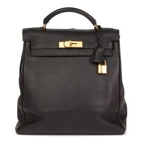 Hermès Black Togo Leather Vintage Kelly Ado Backpack