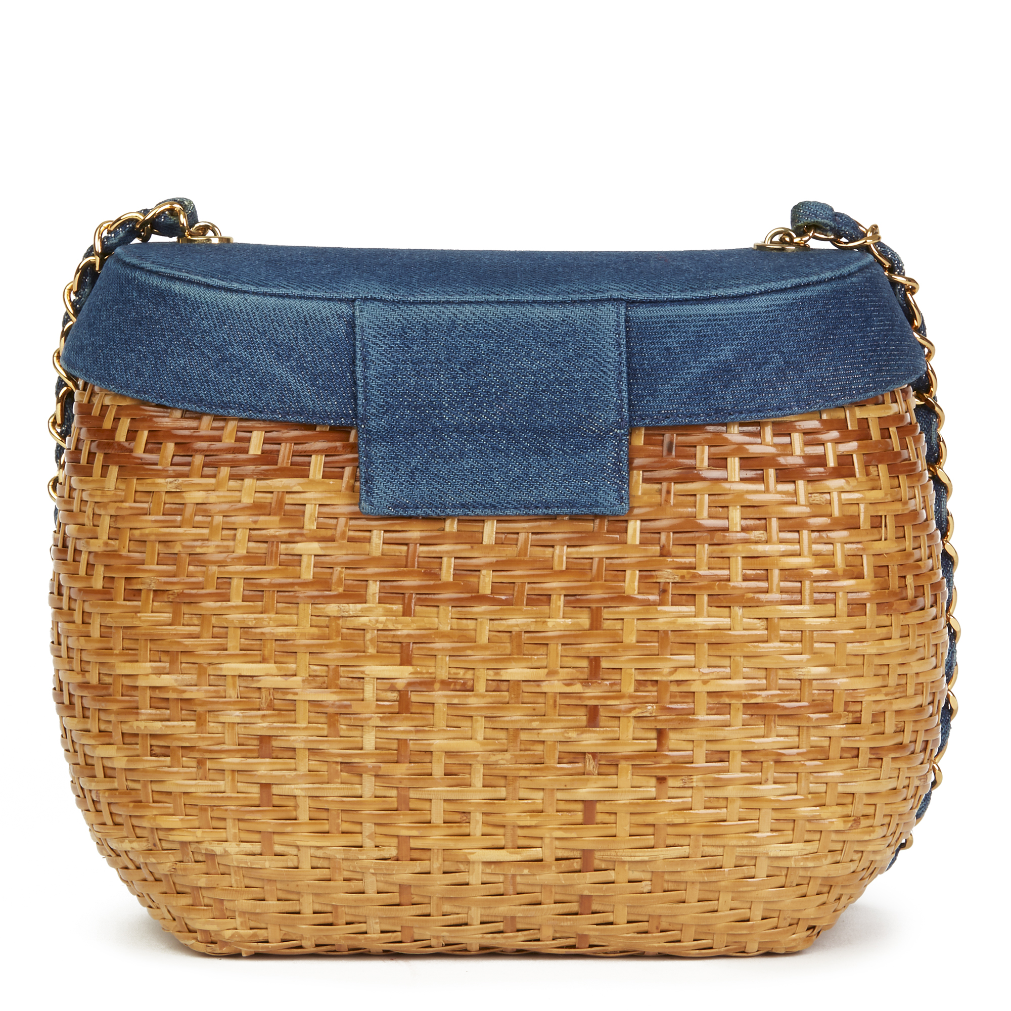 600f3560732d Details about CHANEL BLUE DENIM & WOVEN STRAW 'PICNIC' VINTAGE BASKET BAG  HB2496