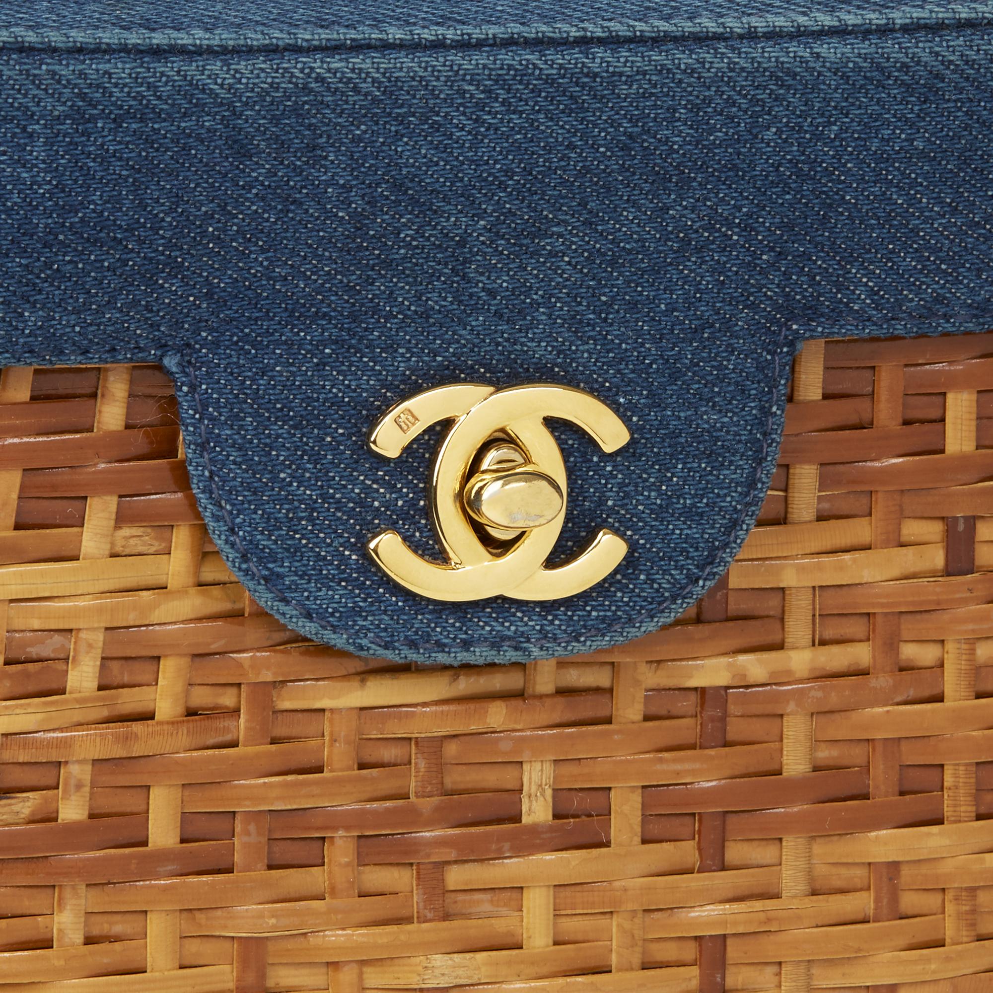9fa1c4e11608 CHANEL BLUE DENIM & WOVEN STRAW 'PICNIC' VINTAGE BASKET BAG HB2496 ...