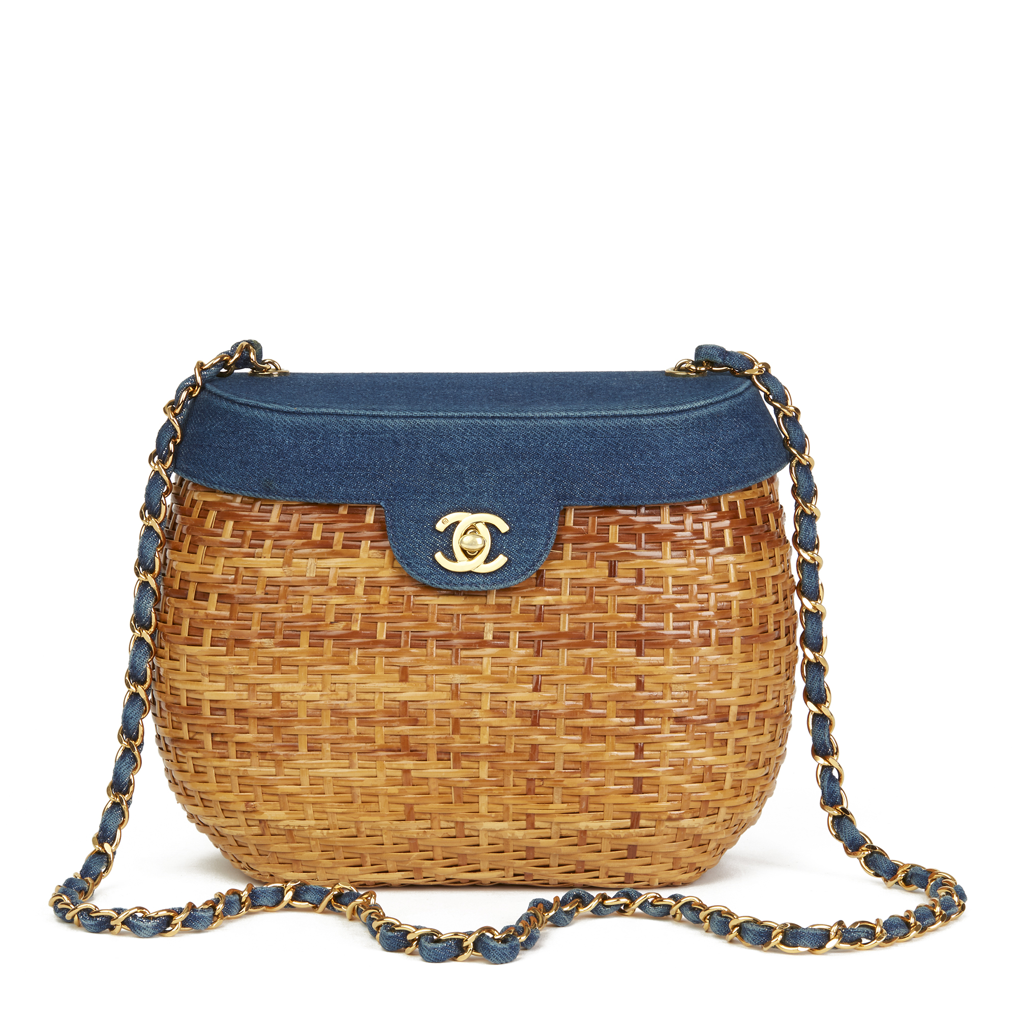 f9476d8c67c967 CHANEL BLUE DENIM & WOVEN STRAW 'PICNIC' VINTAGE BASKET BAG HB2496 ...