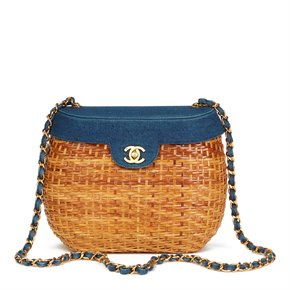 Chanel Blue Denim & Woven Straw 'Picnic' Vintage Basket Bag
