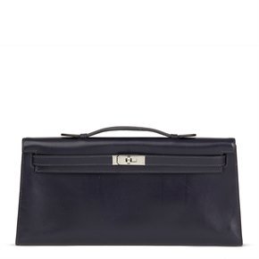 Hermès Navy Box Calf Leather Kelly Longue Clutch