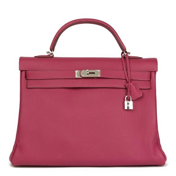 Hermès Tosca Clemence Leather Kelly 40cm Retourne