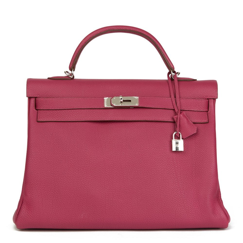 Hermès Tosca Clemence Leather Kelly 40cm Retourne
