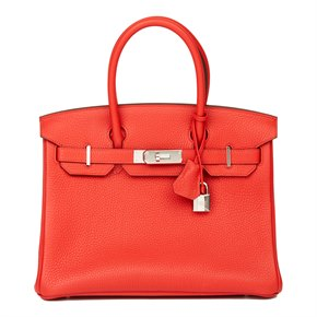 Hermès Rouge Tomate Clemence Leather Birkin 30cm