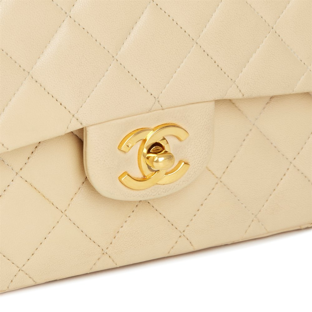Chanel Beige Quilted Lambskin Vintage Classic Double Flap Bag 7868ea0ad6918