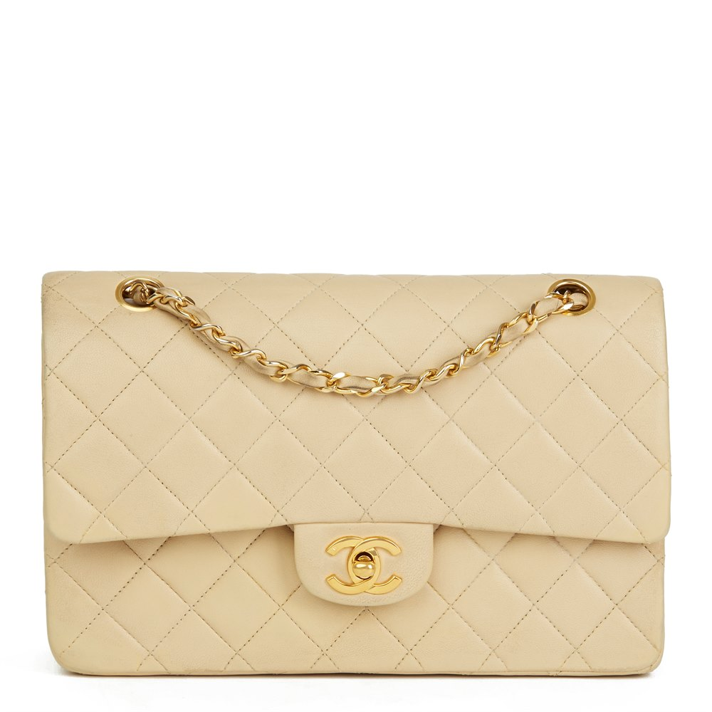 1d126c0ee12cc Chanel Beige Quilted Lambskin Vintage Classic Double Flap Bag