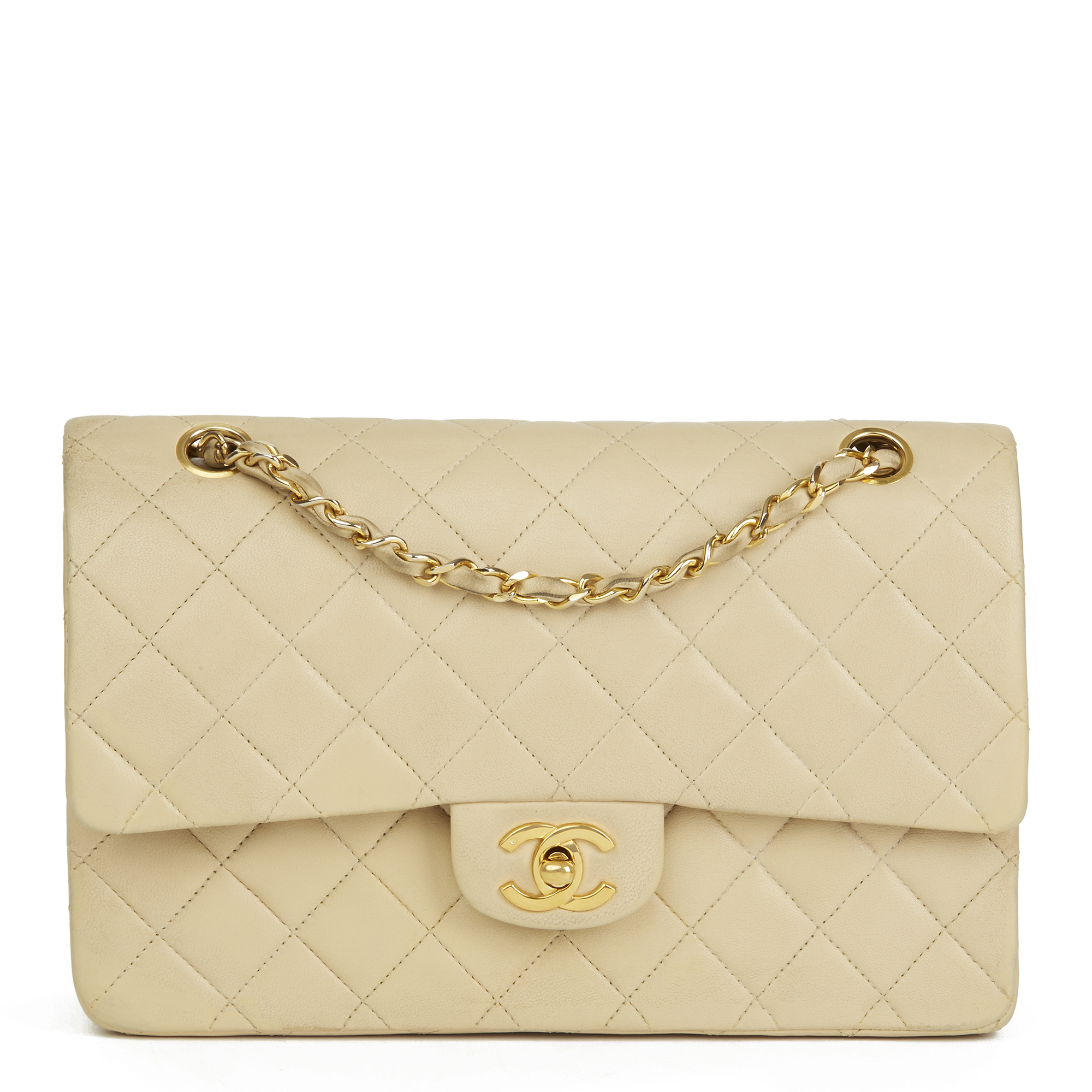 CHANEL BEIGE QUILTED LAMBSKIN VINTAGE CLASSIC DOUBLE FLAP BAG HB2502 ... 0be74565e87b9
