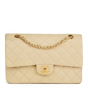 Chanel Beige Quilted Lambskin Vintage Classic Double Flap Bag