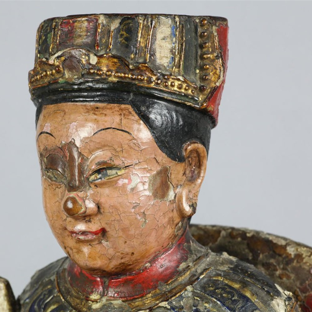 CHINESE CARVED WOODEN TEMPLE FIGURE 19th Century