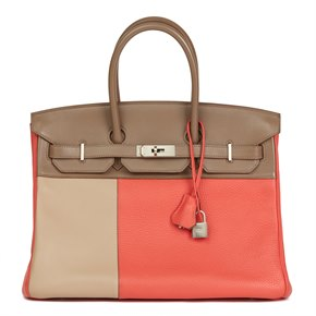 Hermès Rose Jaipur Clemence Leather, Etoupe & Argile Swift Leather Cascade Tri-Colour Birkin 35cm