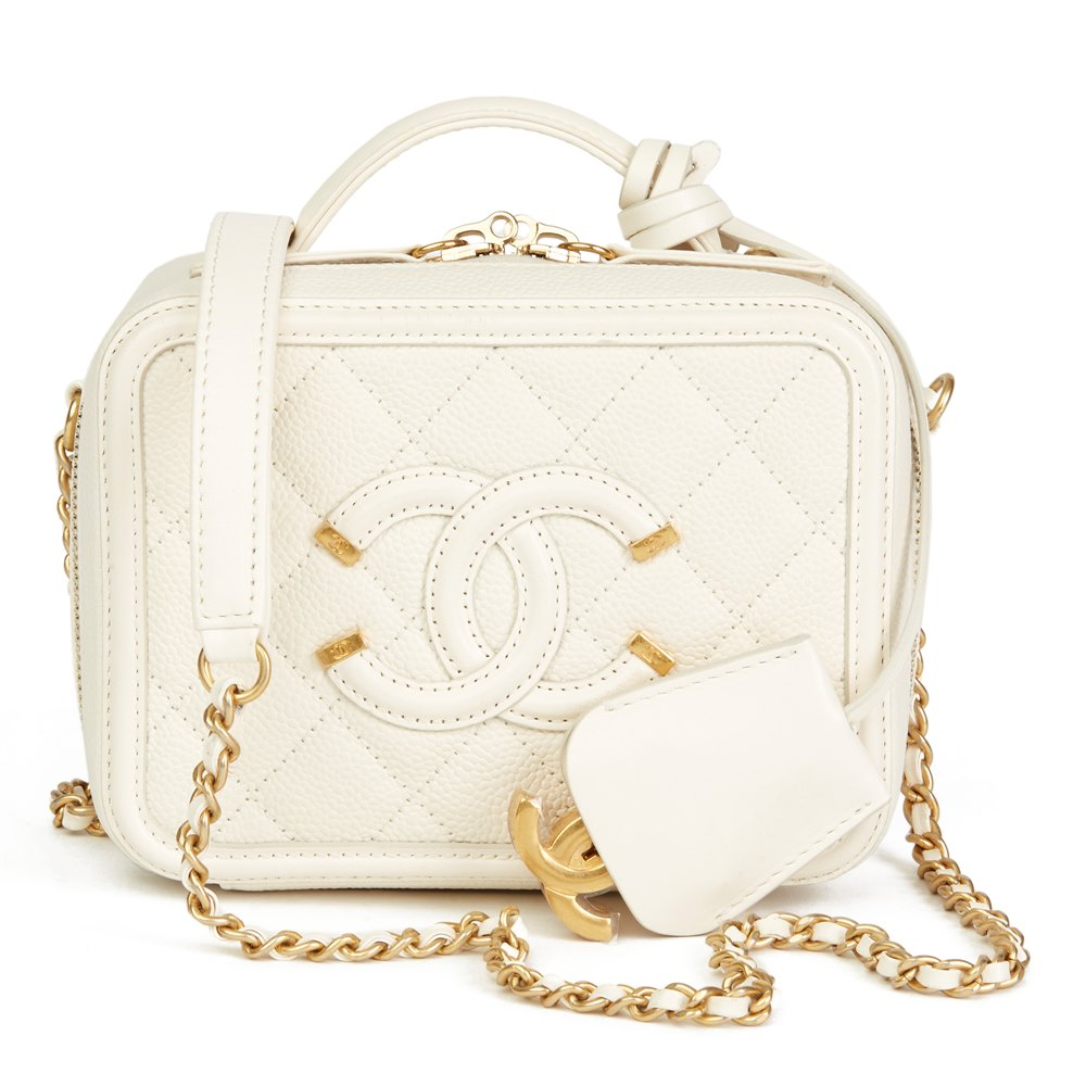 a6351e66281685 Chanel Light Beige Quilted Caviar Leather Small Filigree Vanity Case