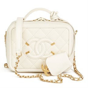Chanel Light Beige Quilted Caviar Leather Small Filigree Vanity Case