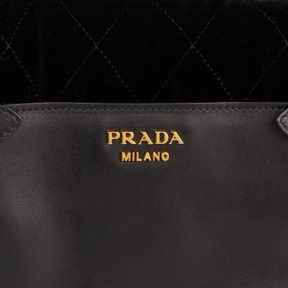 8ee9b26d59cf Prada Black Quilted Velvet   Calfskin Leather Corsaire Bag