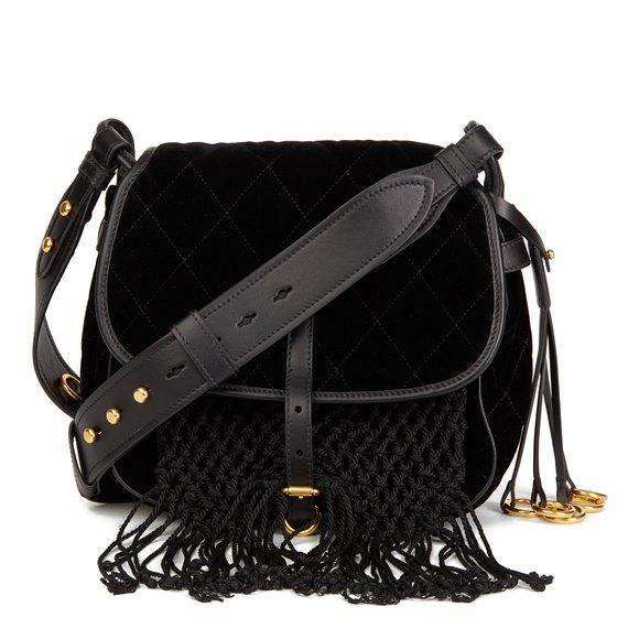 Prada Black Quilted Velvet & Calfskin Leather Corsaire Bag