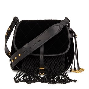 Prada Black Quilted Velvet & Calfskin Leather Corsaire Bag