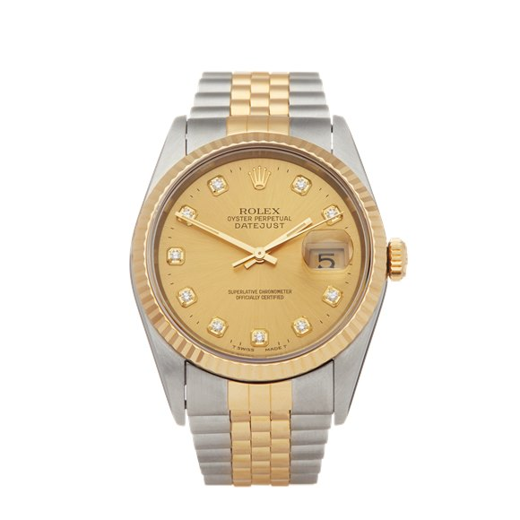 Rolex DateJust 36 Diamond 18k Stainless Steel & Yellow Gold - 16233