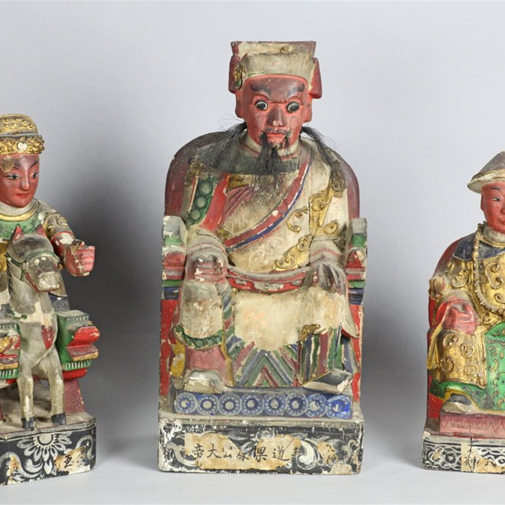 COLLECTION TEN WOODEN TEMPLE FIGURES Late 18th or early 19th C.