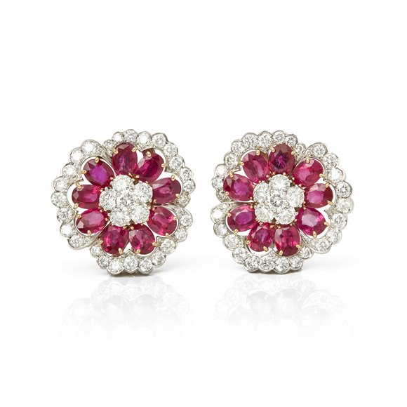 Van Cleef & Arpels Platinum Ruby & Diamond Flower Camellia Earrings