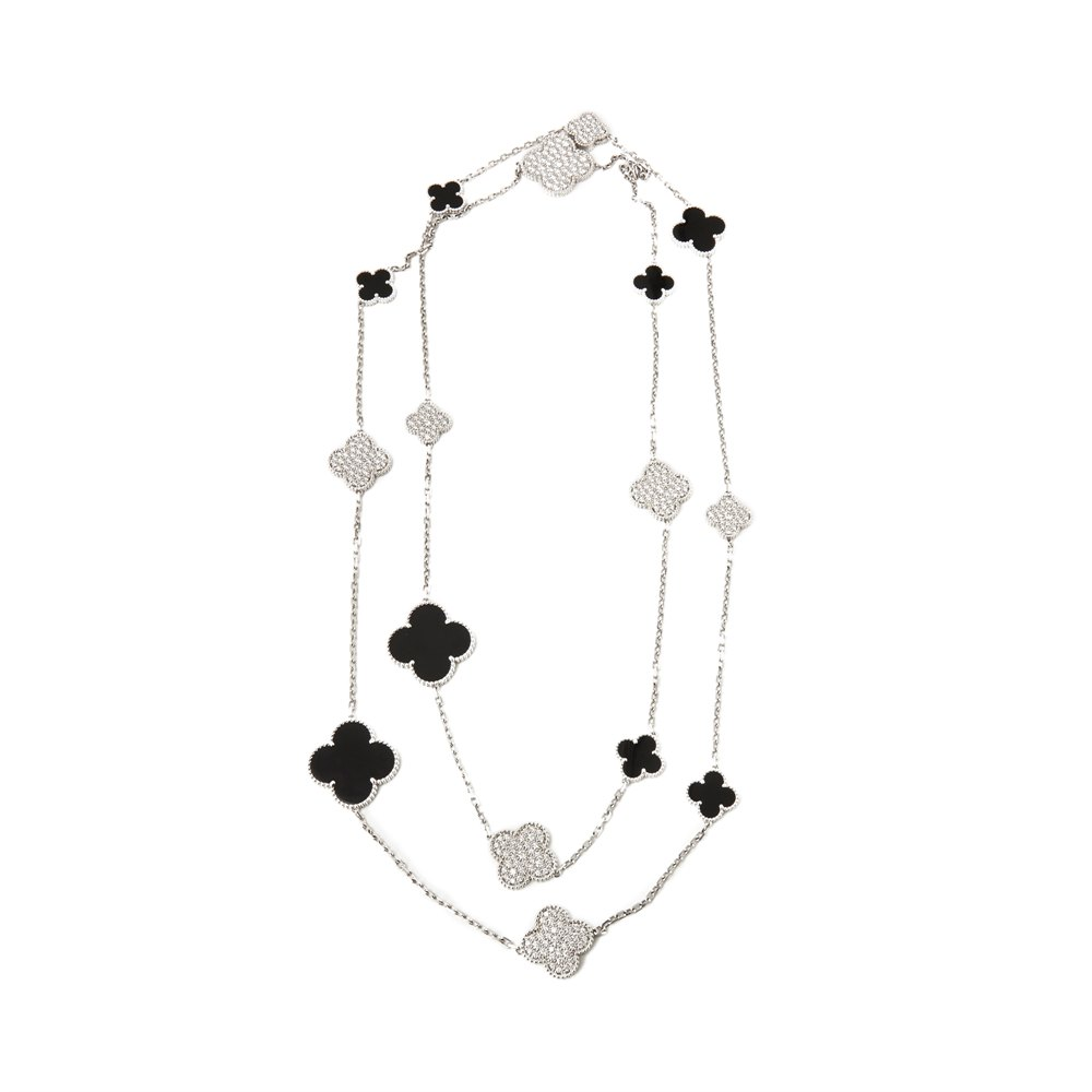 Van Cleef & Arpels 18k White Gold Onyx & Diamond Limited Edition Fifth Avenue Magic Alhambra Necklace