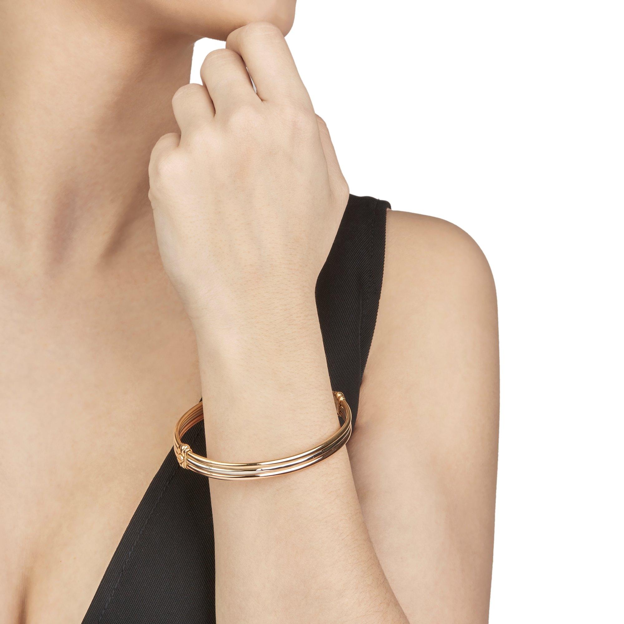 Cartier 18k Yellow, White & Rose Gold Vintage Trinity Bracelet
