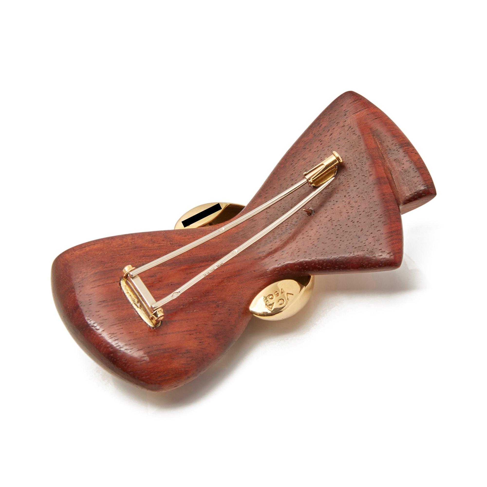 Van Cleef & Arpels 18k Yellow Gold & Wooden Vintage Bow Brooch