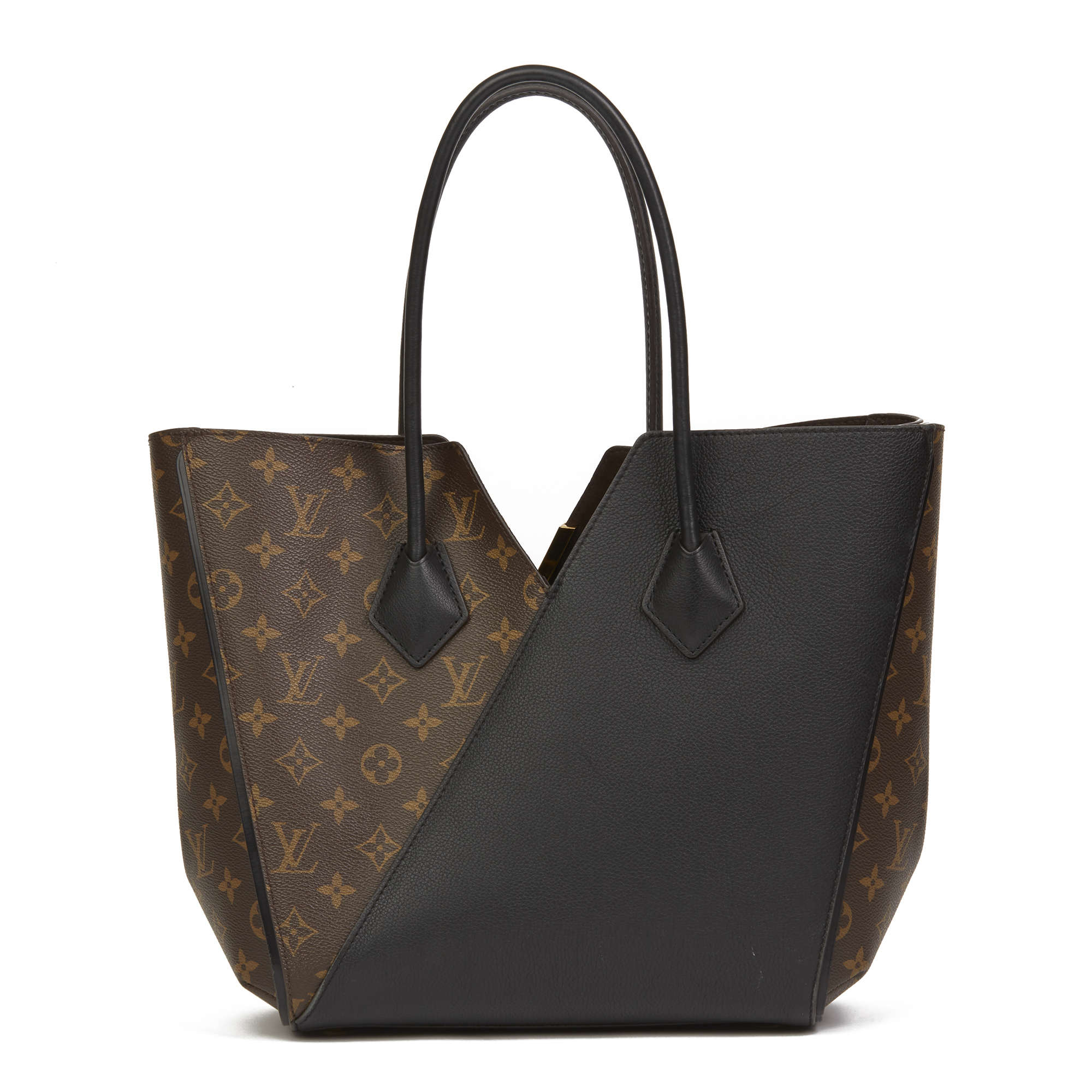 Details about LOUIS VUITTON BROWN MONOGRAM COATED CANVAS   BLACK CALFSKIN  LEATHER KIMONO MM 72b4405a08cdd